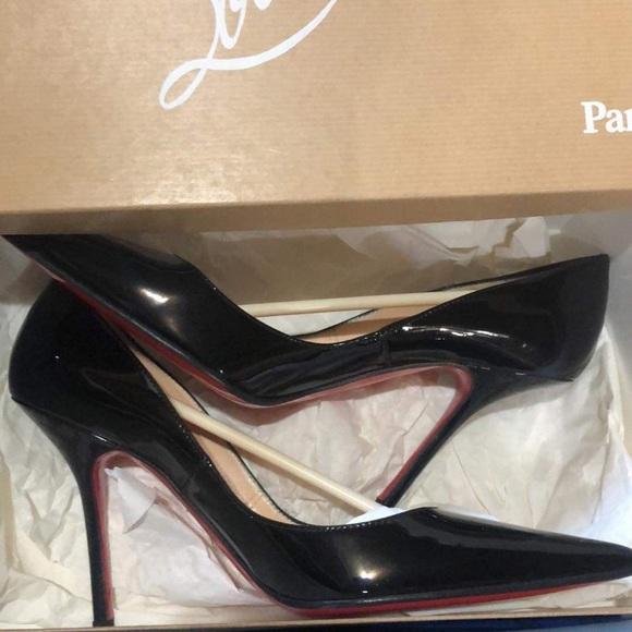 Louboutin Decoltissimo 100 patent calf bk heels